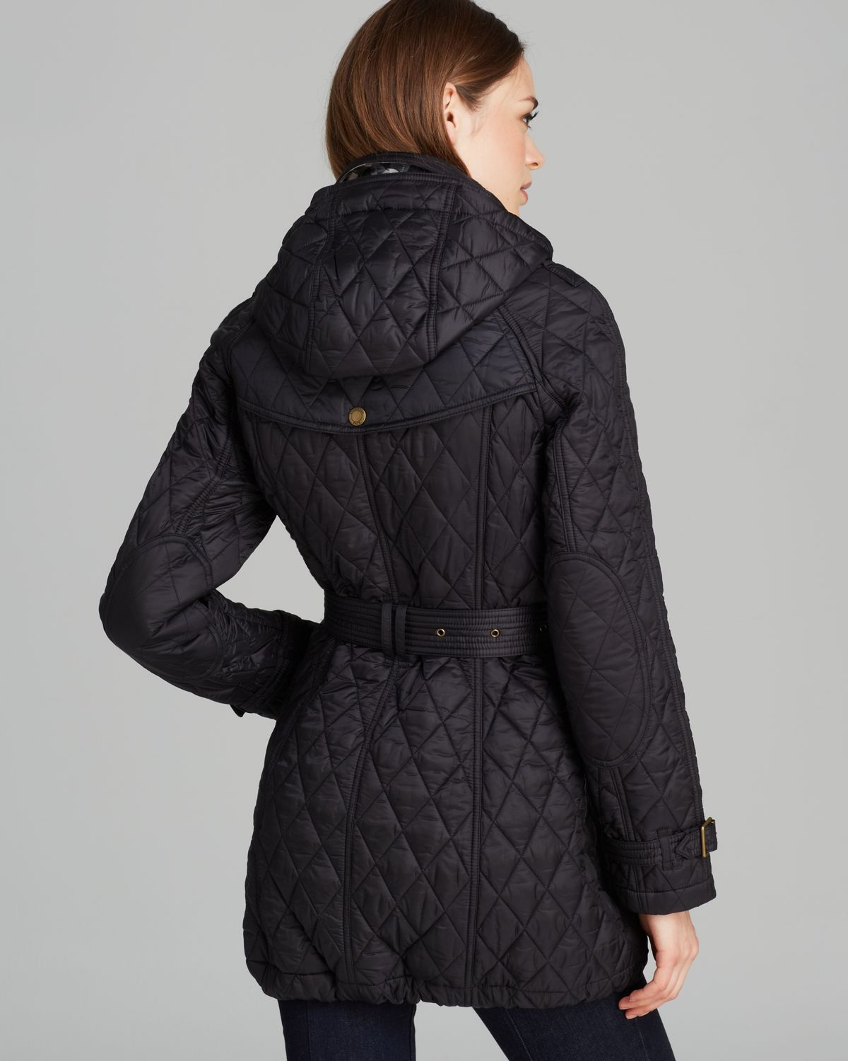 Lyst Burberry Finsbridge Long Quilted Coat In Black
