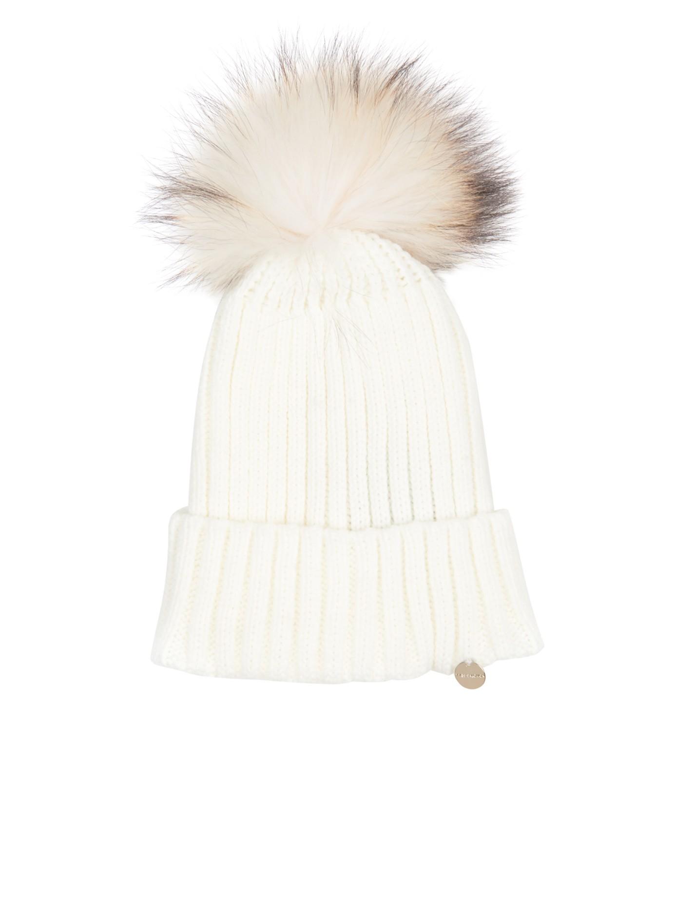 c88218a27f9 Yves Salomon Fur-pompom Knit Beanie Hat in White - Lyst
