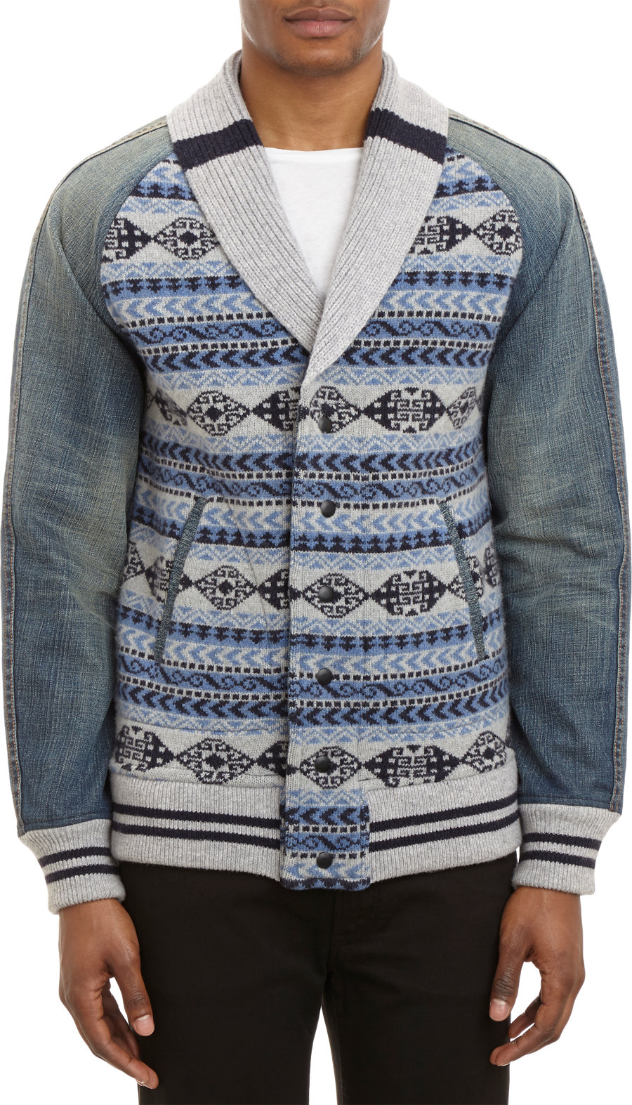 Sahaja Knit Varsity Jacket with Denim Sleeves in Blue for Men (navy) Lyst
