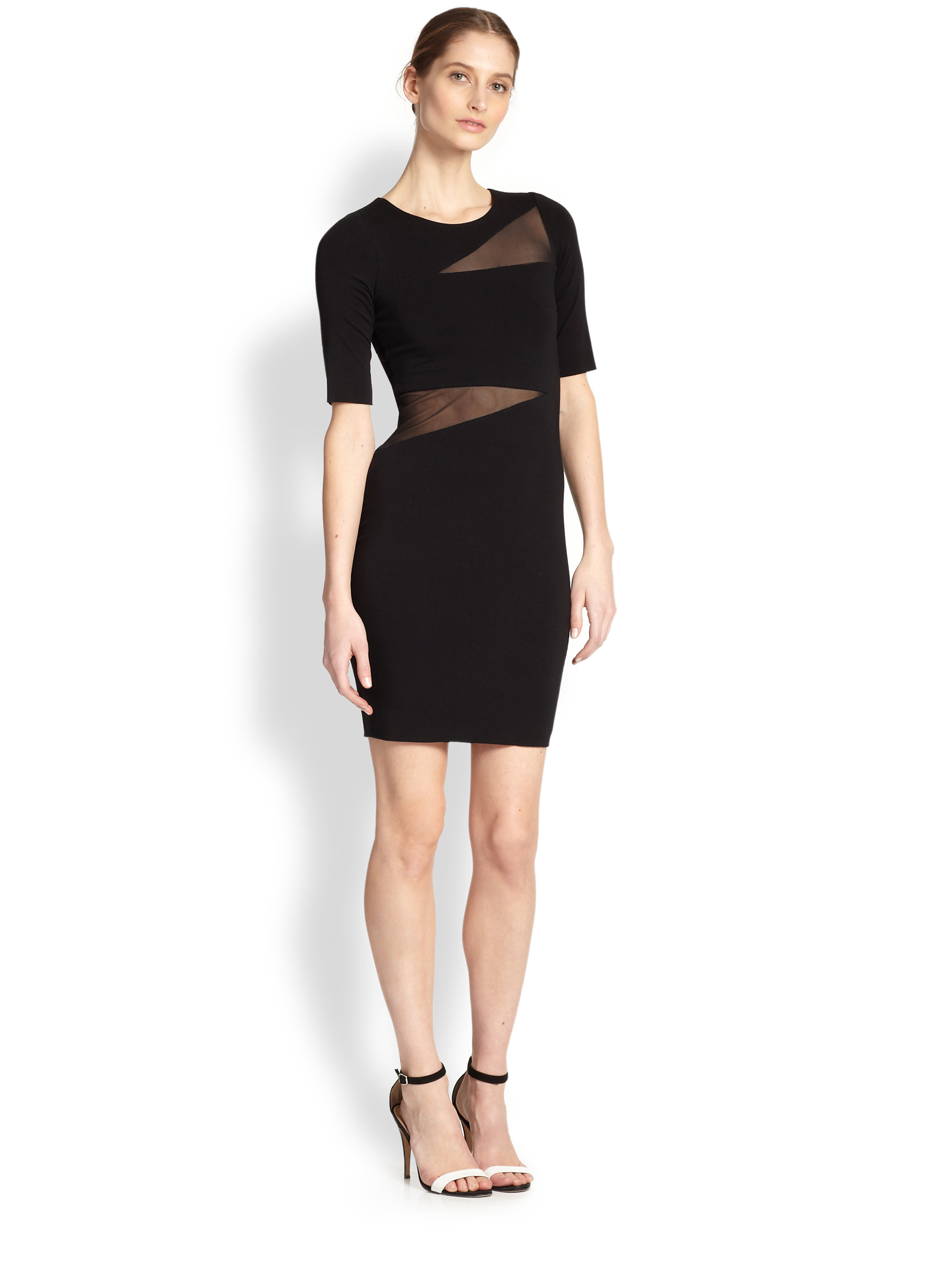 Bailey 44 Vanishing Point Asymmetrical Sheerpaneled Dress