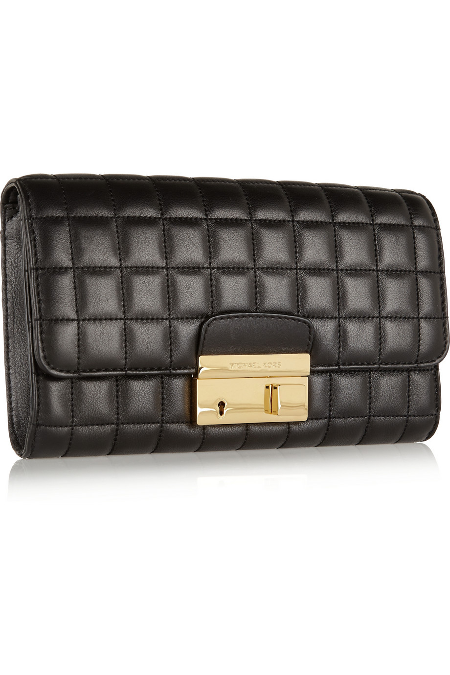 Michael kors Gia Quilted Leather Clutch in Black | Lyst : quilted leather clutch - Adamdwight.com