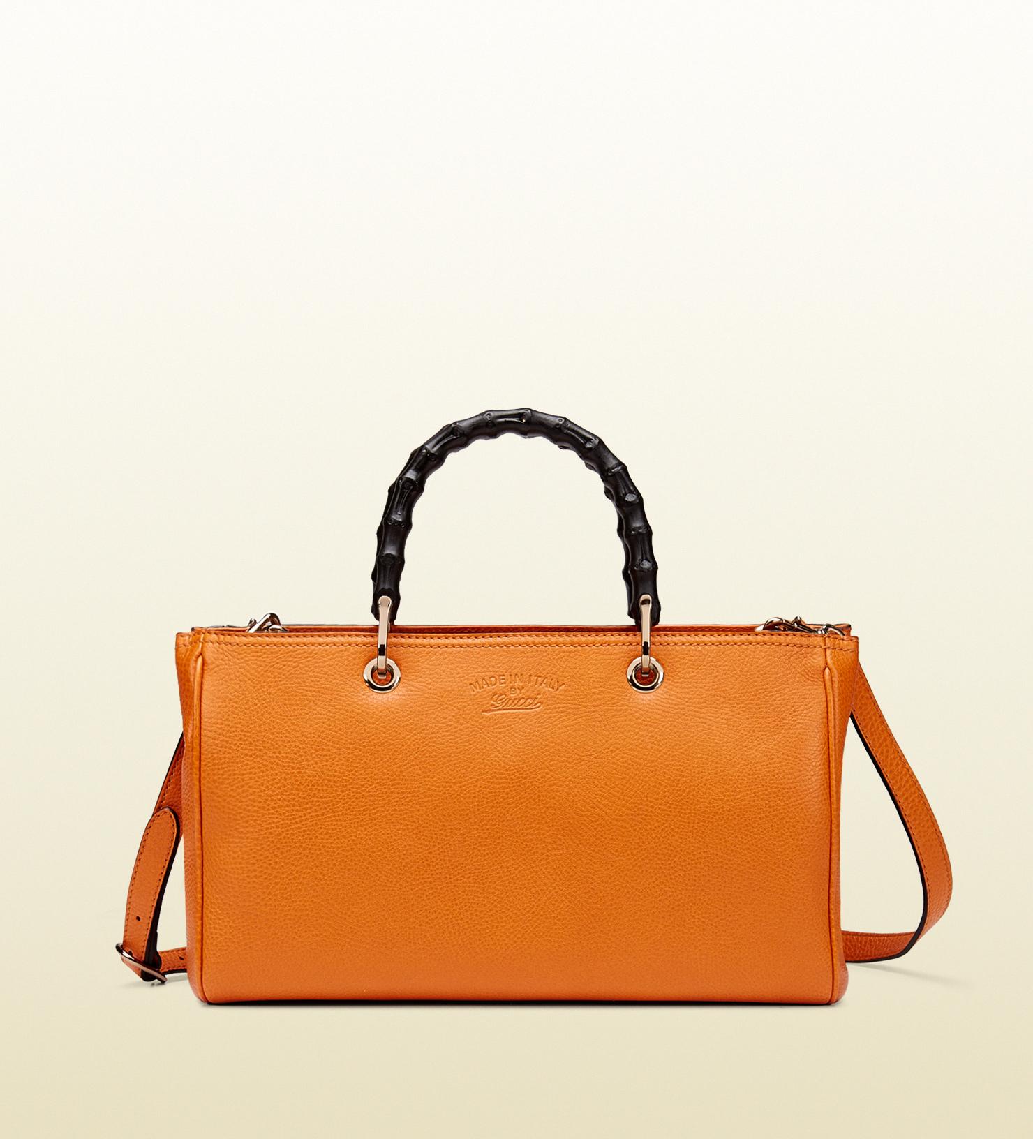 b4e548b69 Gucci Bamboo Shopper Leather Tote in Orange - Lyst