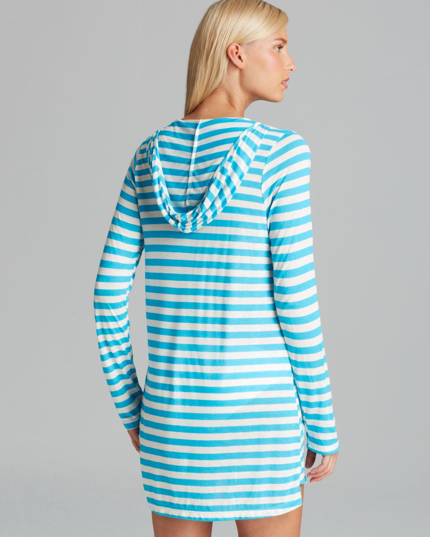 5c7f79d17a6 Lyst - Ella Moss Cabana Stripe Hoodie Swim Cover Up in Blue