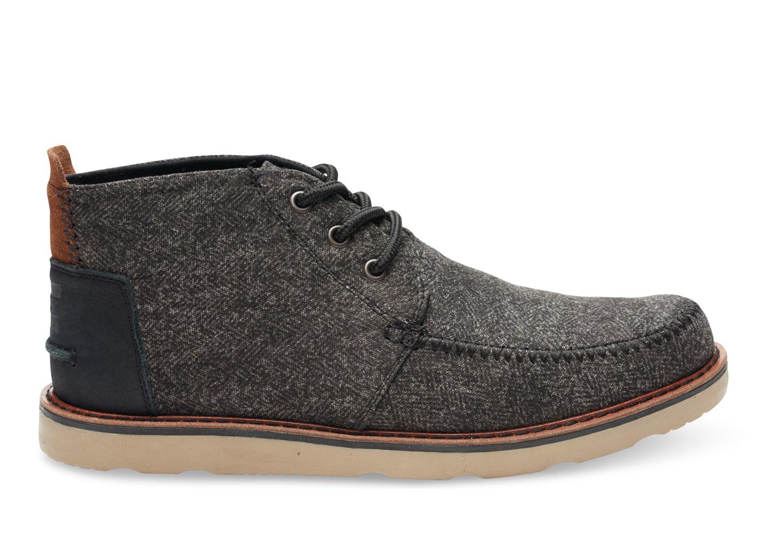 Toms Black Herringbone Men's Chukka Boots in Black for Men | Lyst