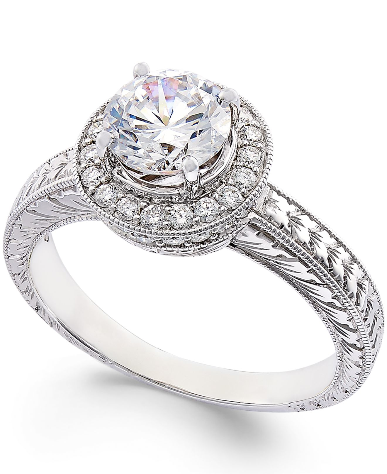 Macy s Certified Diamond Engagement Ring In 18k White Gold 1 3 8 Ct T w