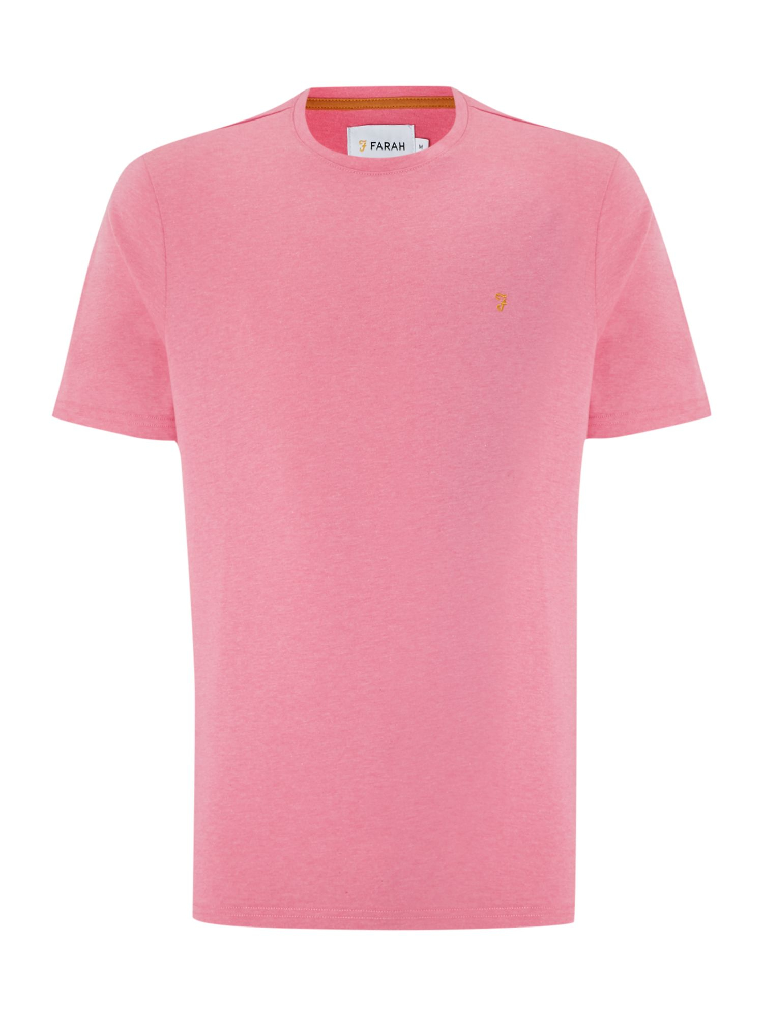 Farah Plain Crew Neck Regular Fit T-shirt in Pink for Men | Lyst