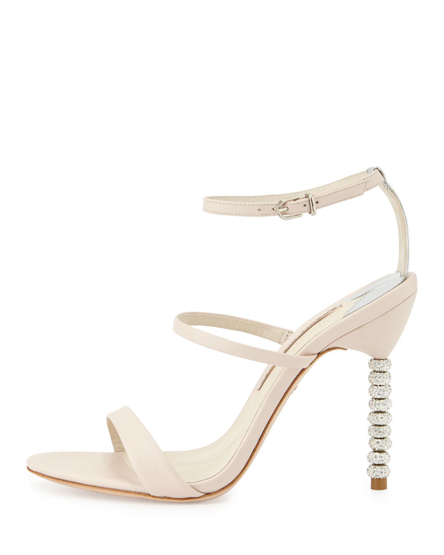a4310437d7d Lyst - Sophia Webster Rosalind Crystal-heel Leather Sandal in Natural