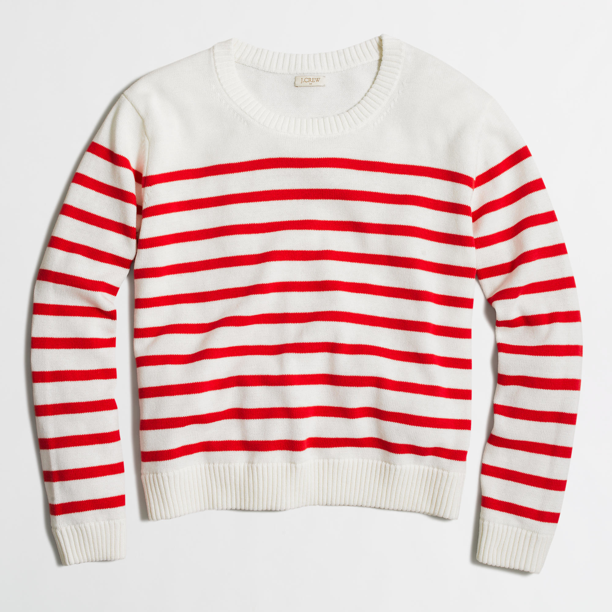 J.crew Factory Cropped Cotton Sweater In Stripe in Red | Lyst