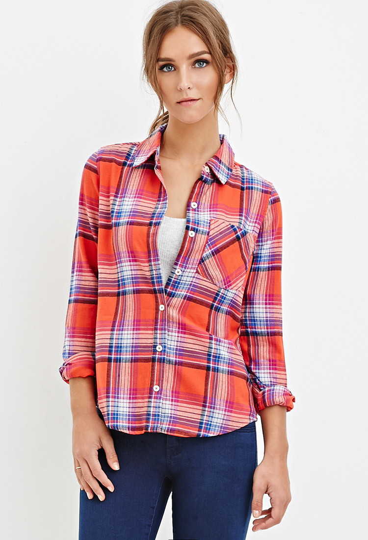 Lyst forever 21 tartan flannel shirt in orange for Flannel shirts for womens forever 21