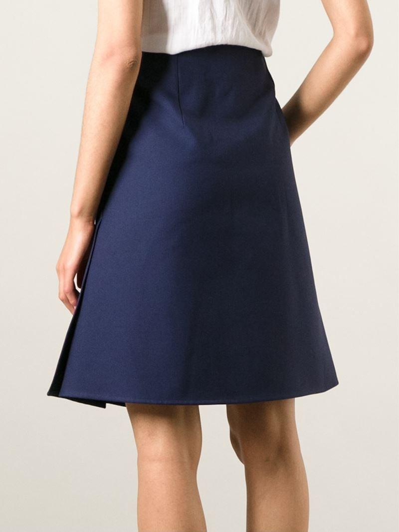 Jil sander High-Waisted A-Line Skirt in Blue | Lyst
