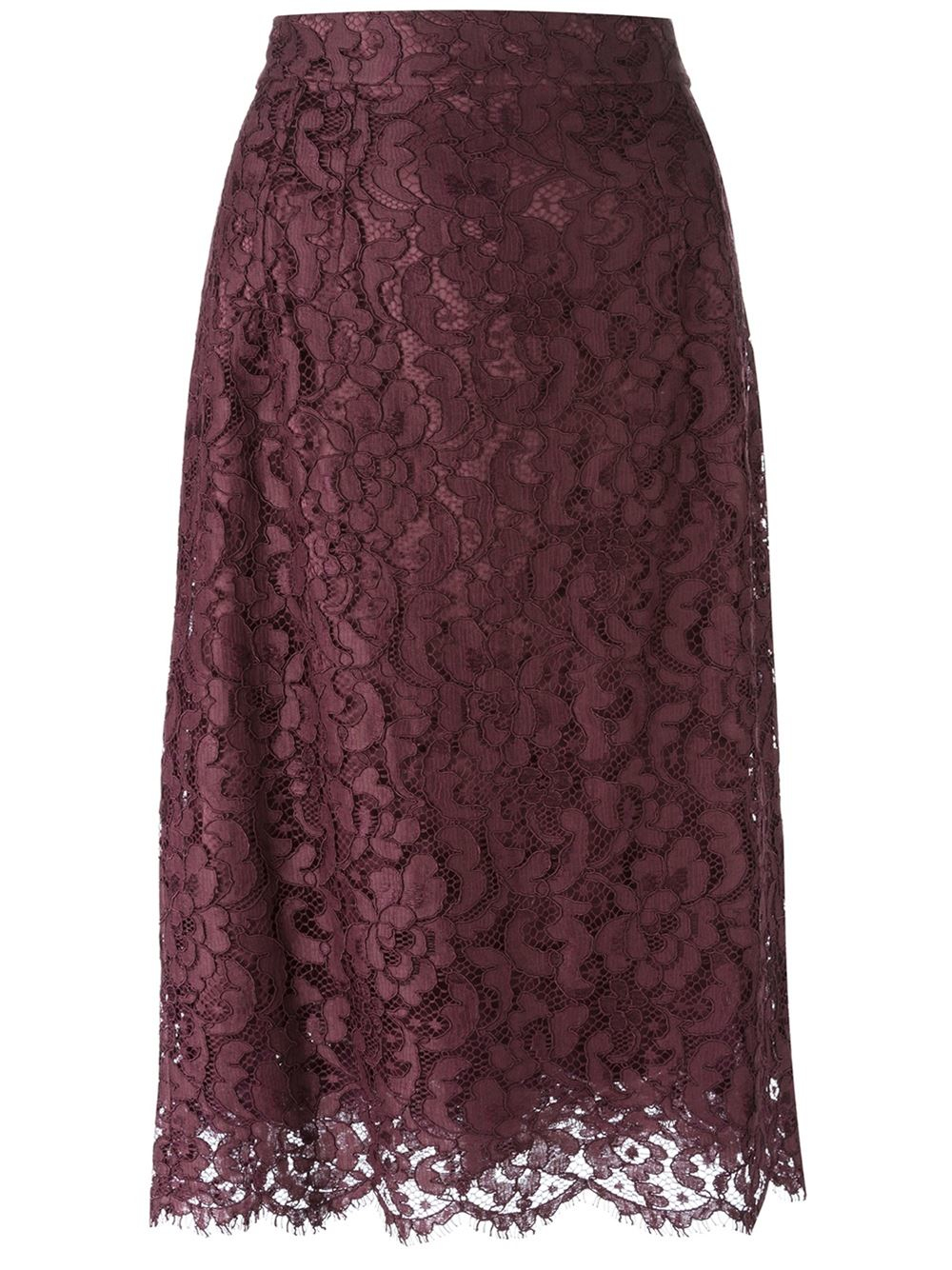 Dolce Amp Gabbana Floral Lace Midi Skirt In Red Lyst