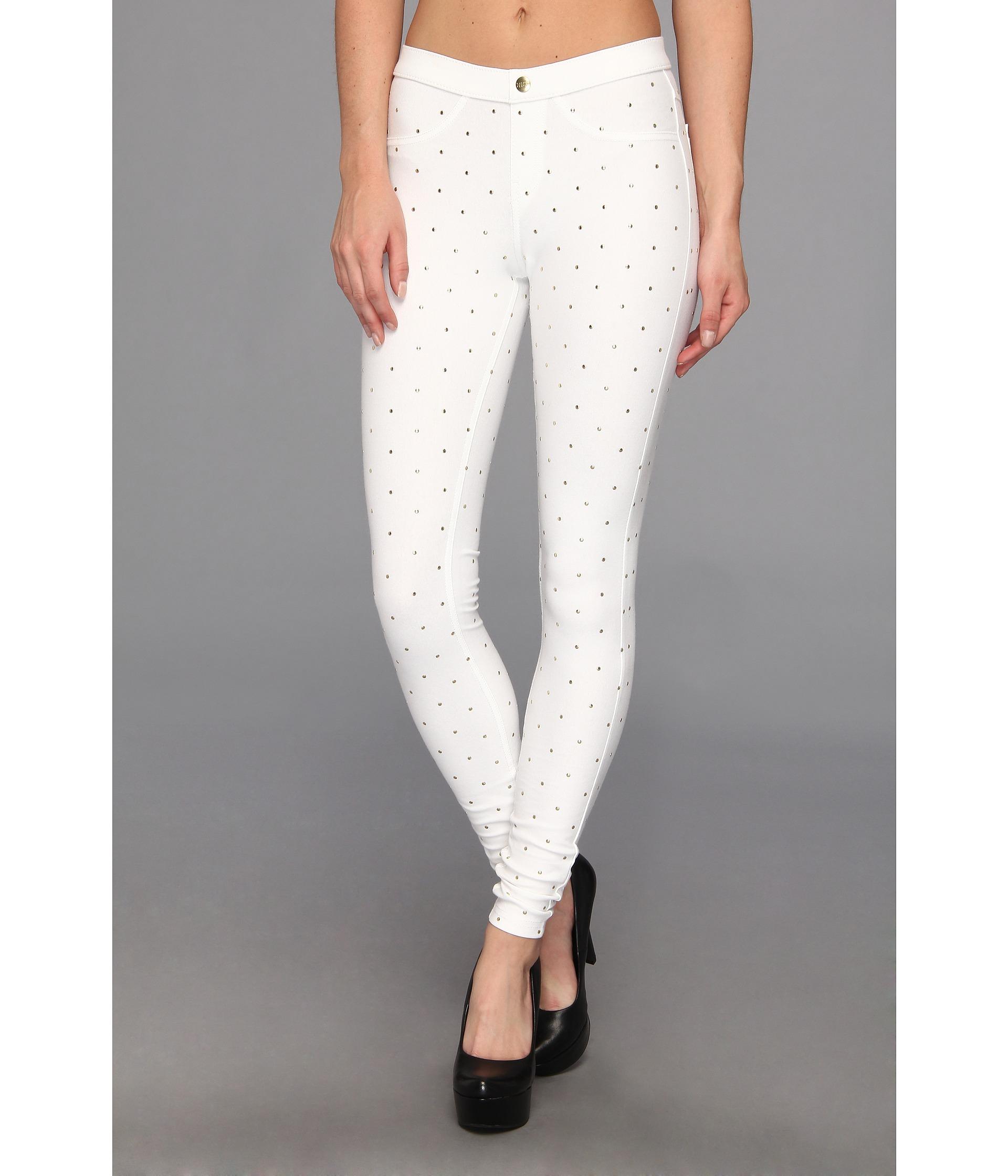 Hue Studded Denim Legging in White | Lyst