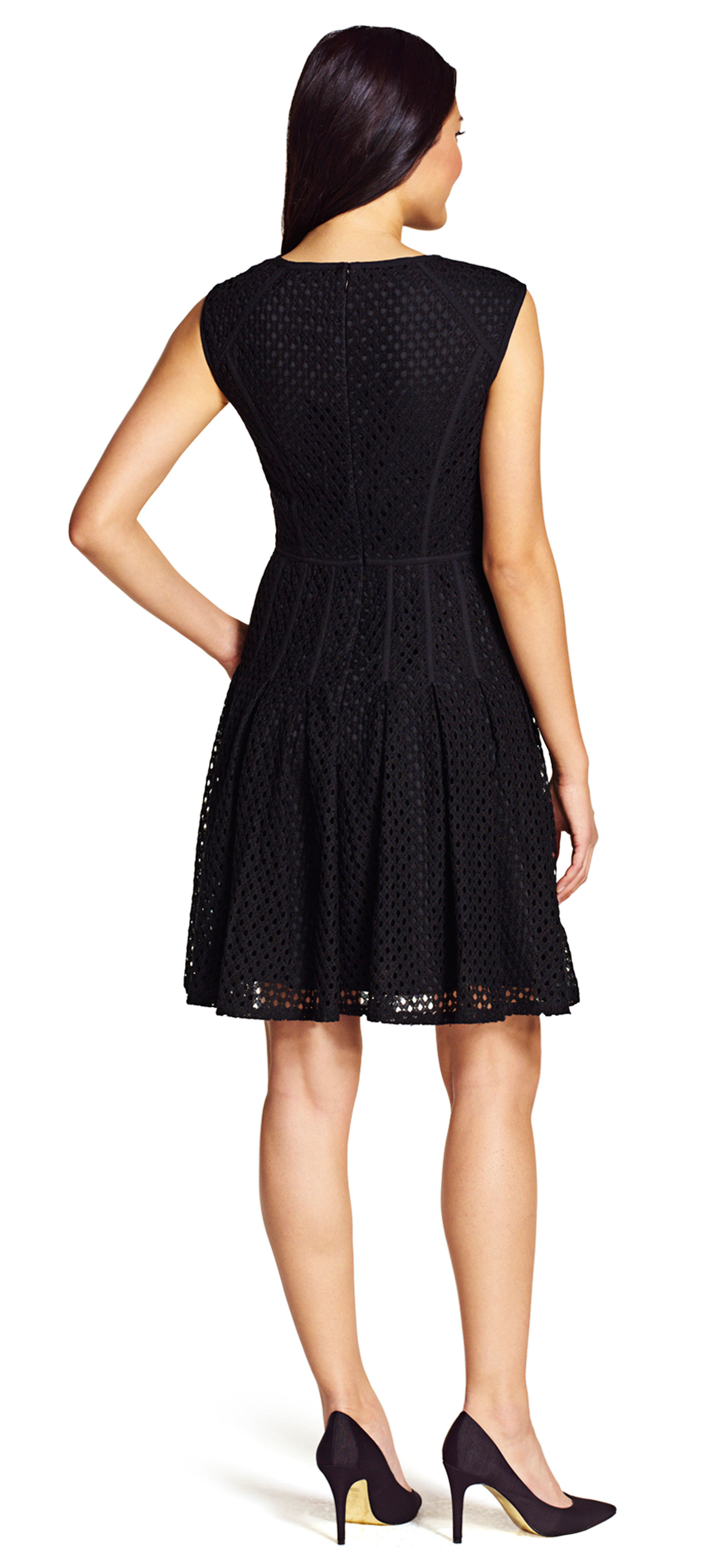 papell fit and flare dress with pleated skirt in