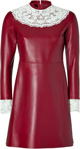 Valentino Leather Dress With Lace Bib In Red Black Lyst