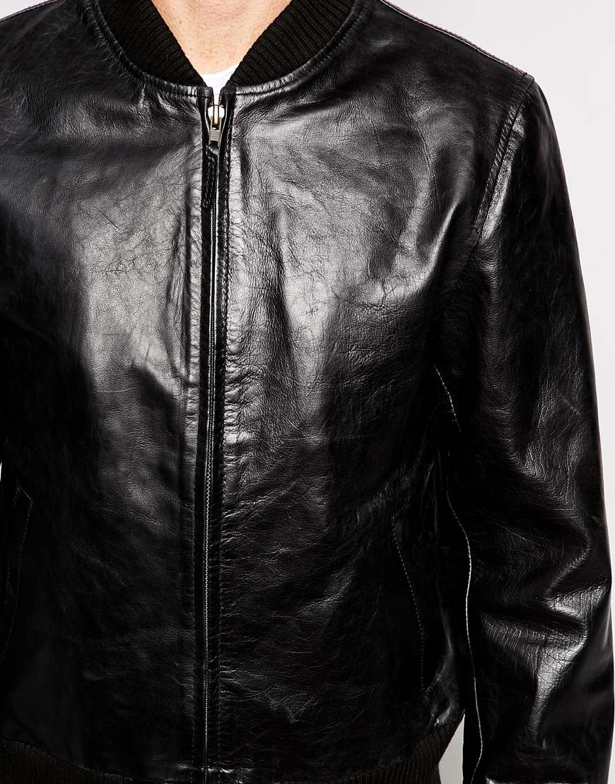 Lyst Edwin Leather Jacket Tour Bomber In Black For Men