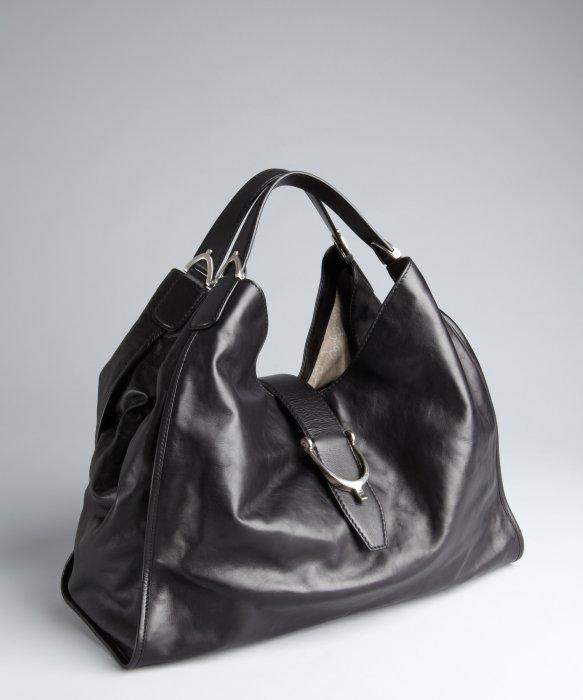 Gucci Black Leather Large Hobo Bag in Black | Lyst