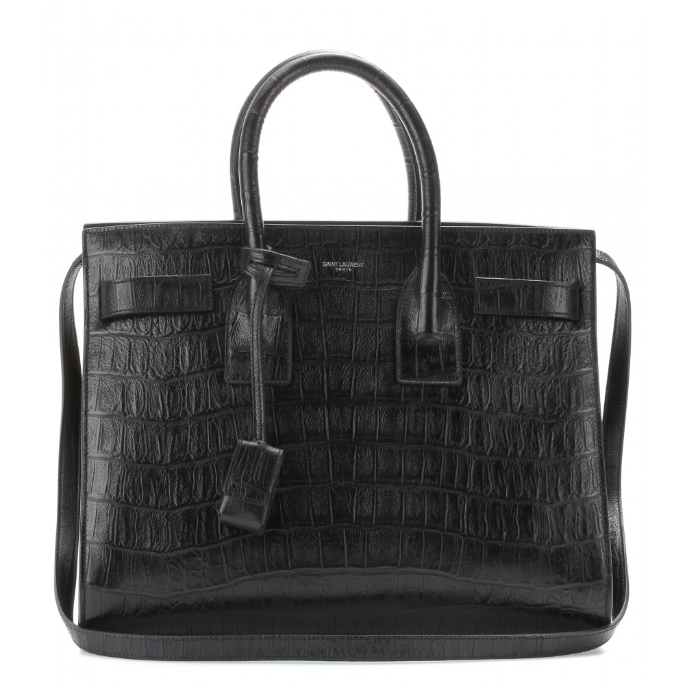 lyst saint laurent sac de jour small croceffect leather tote in black. Black Bedroom Furniture Sets. Home Design Ideas