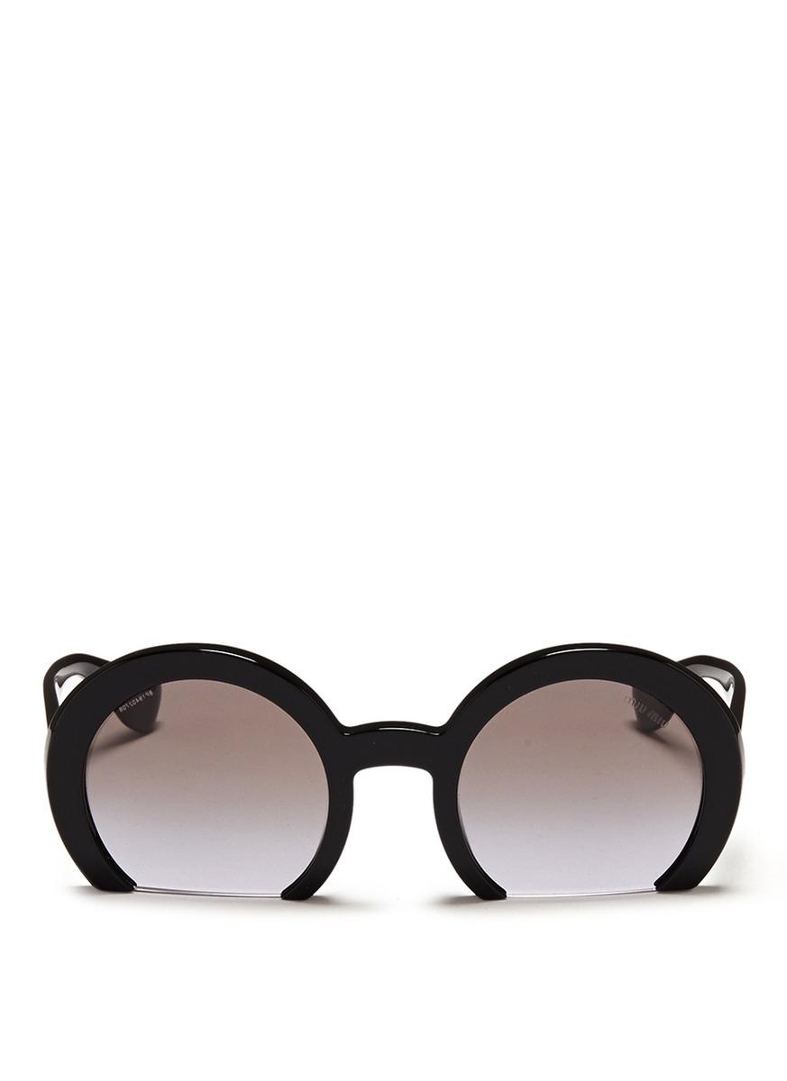 Half Rim Sunglasses  miu miu rasoir half rim acetate sunglasses in black lyst