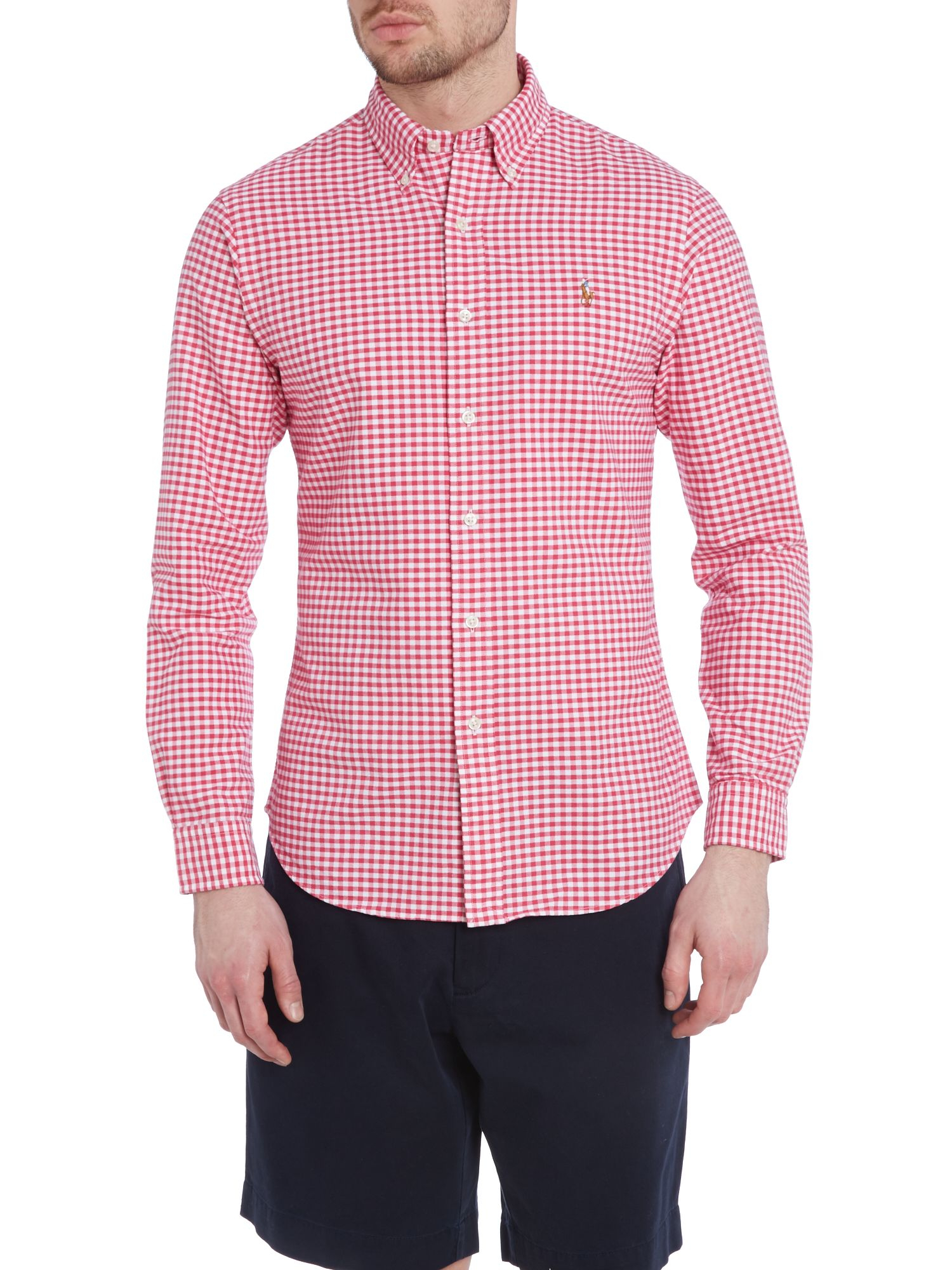 Polo ralph lauren classic slim fit long sleeve gingham for Long sleeve fitted polo shirts
