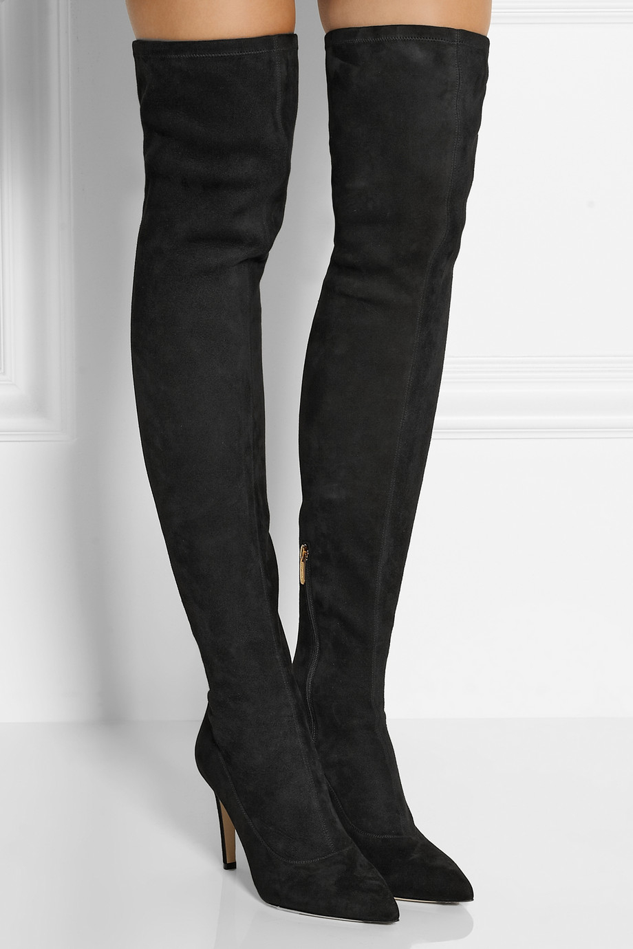 Sergio rossi Stretch-Suede Over-The-Knee Boots in Black | Lyst