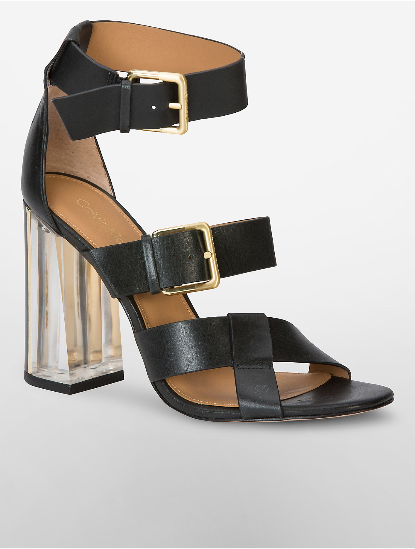 37f63fbfc914a7 calvin klein black sandals lyst calvin klein luana luxor strappy sandal in  black