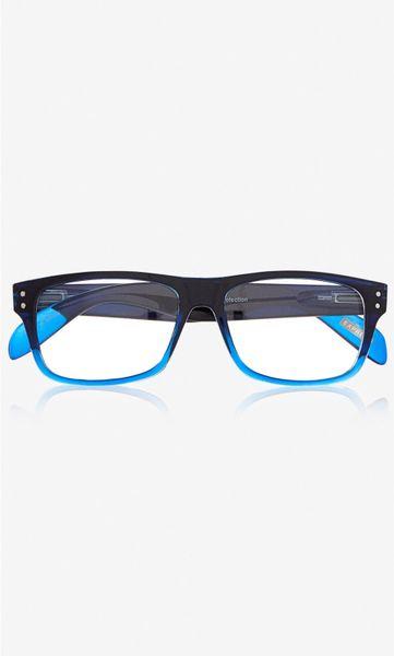 Express Ombre Frame Clear Lens Glasses in Blue for Men ...