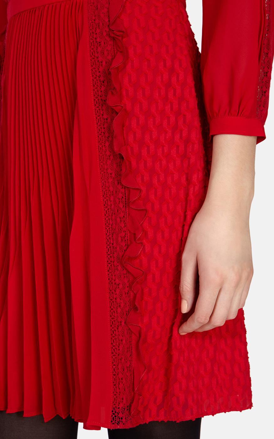 Karen Millen Red Ruffled Lace Dress In Red Lyst