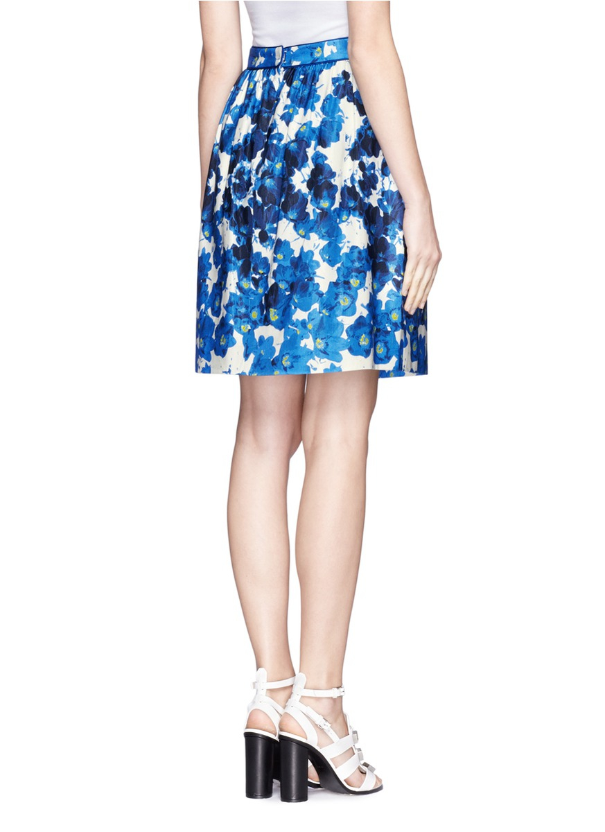 prabal gurung floral print a lined skirt in blue lyst