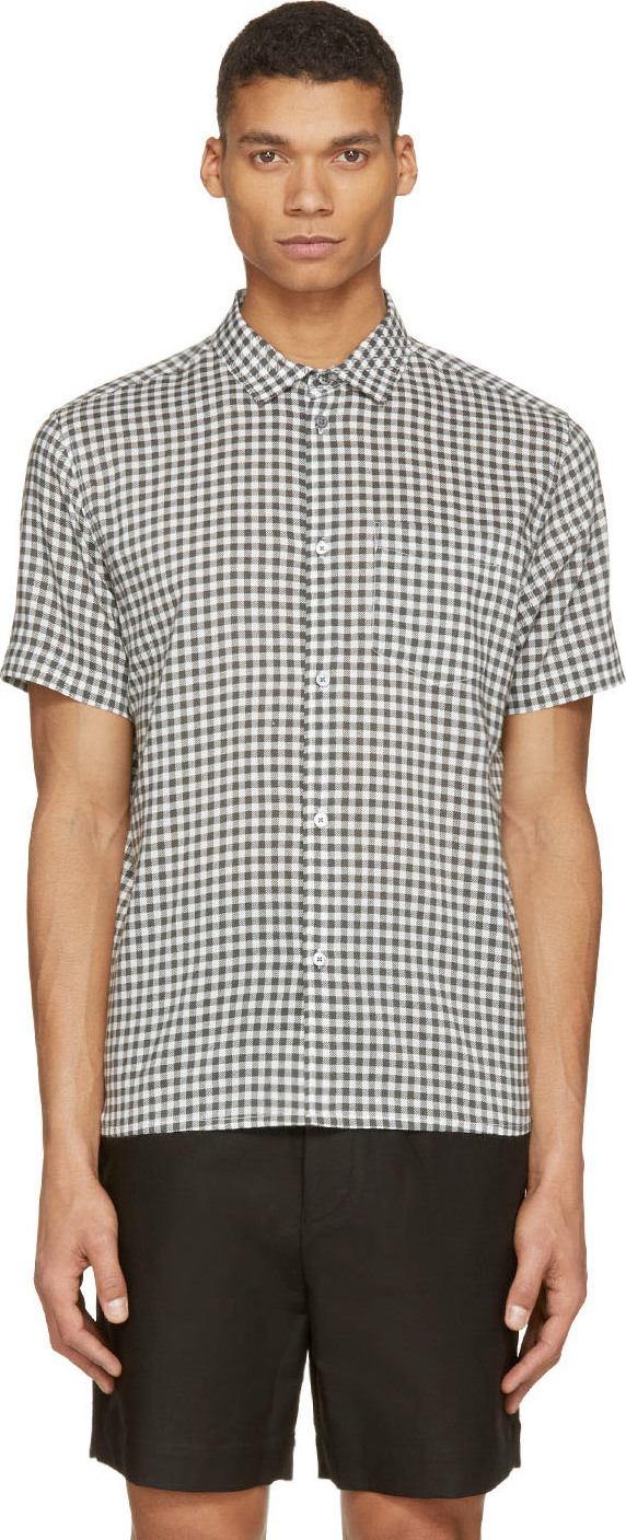 Marc by marc jacobs green and white gingham check shirt in for Mens green gingham dress shirt
