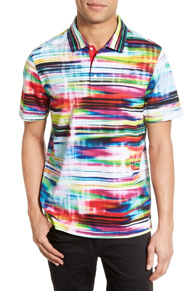 8d62f007af0ca Lyst - Bugatchi Abstract Print Short Sleeve Polo for Men