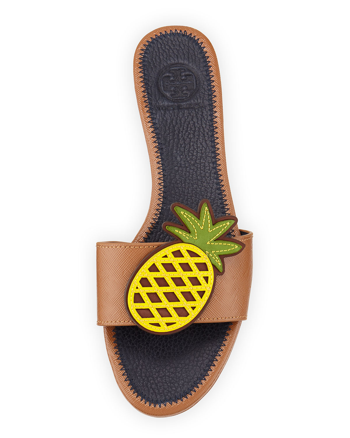 Tory Burch Pineapple Leather Flat Sandal In Brown Lyst