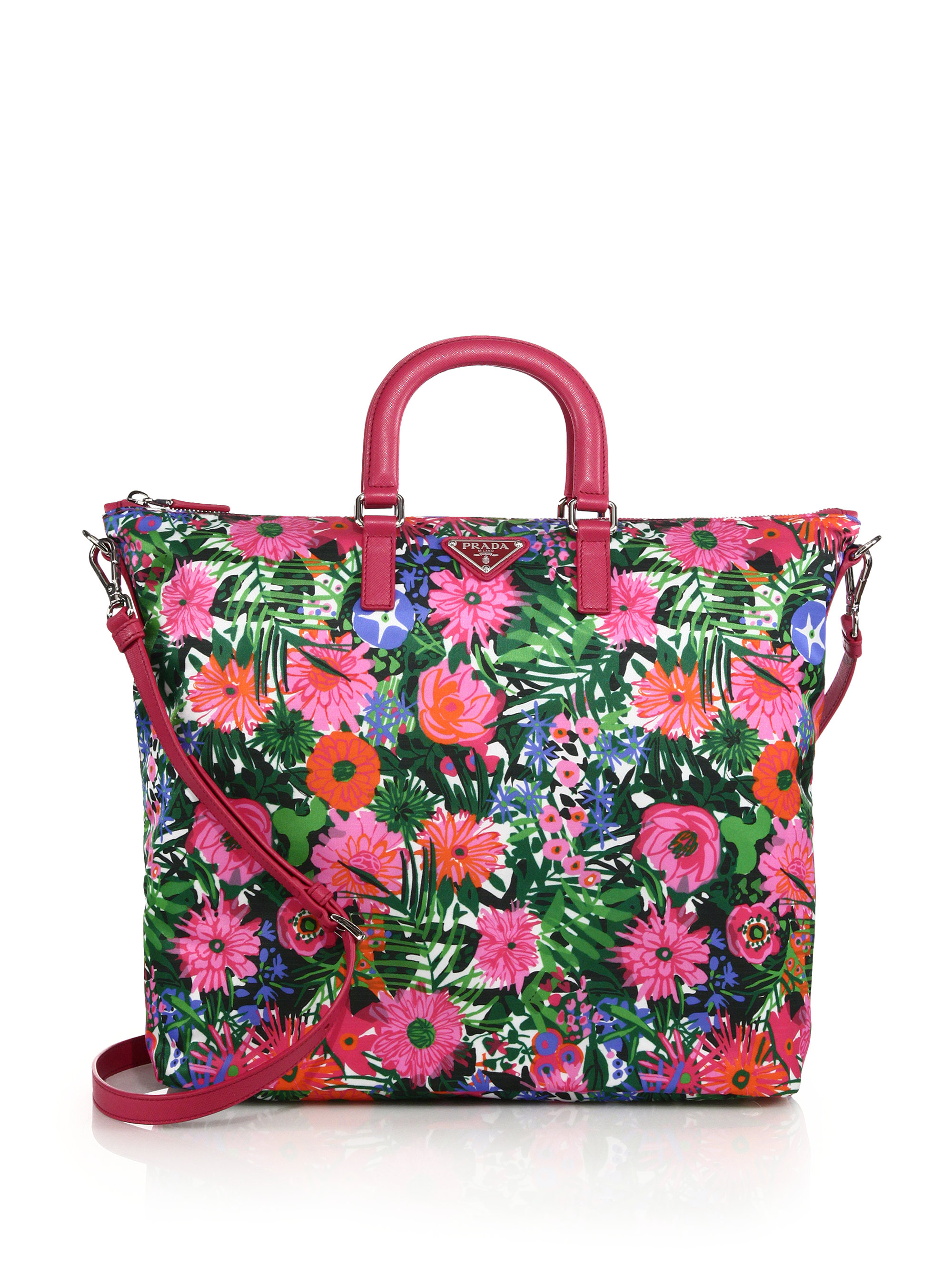 3b0f35d839ae Prada Floral-Print Nylon Tote - Lyst