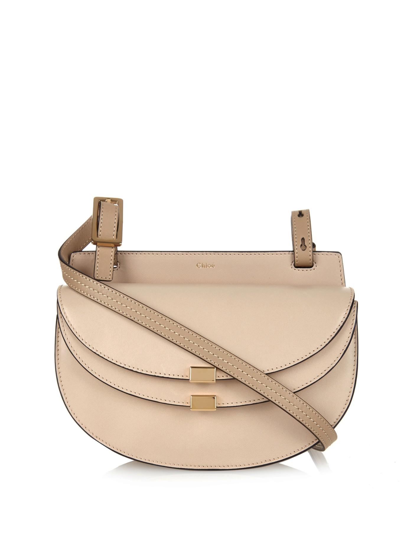 Lyst - Chloé Georgia Mini Leather Cross-Body Bag in Natural 5e5a1db755