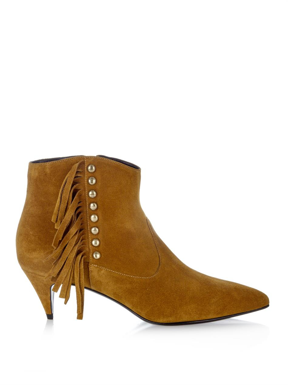 laurent cat fringed and studded suede ankle boots in