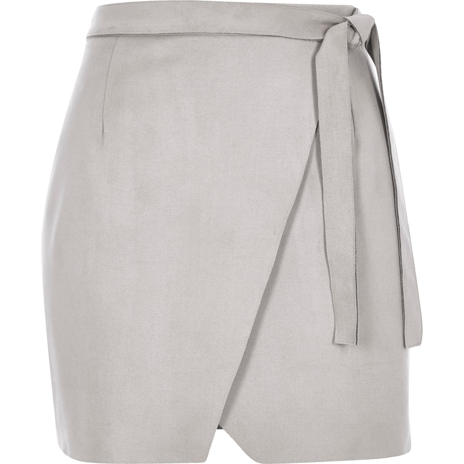 River island Light Grey Faux-suede Wrap Mini Skirt in Gray | Lyst