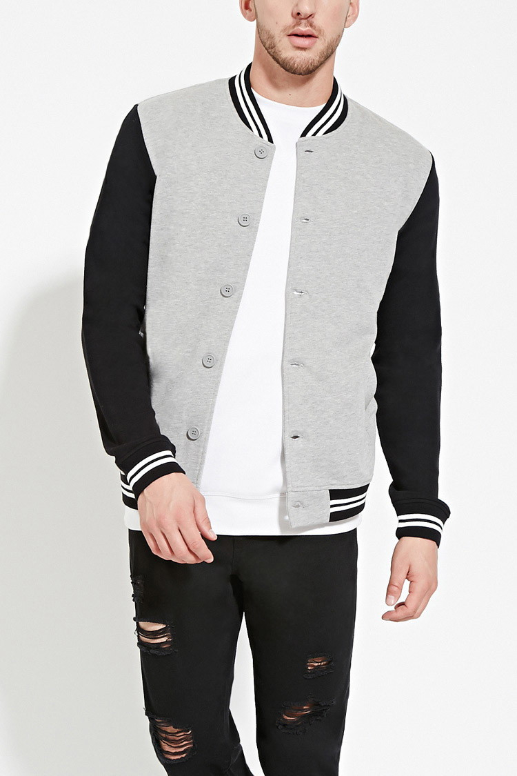 Mens black and grey bomber jacket – Modern fashion jacket photo blog