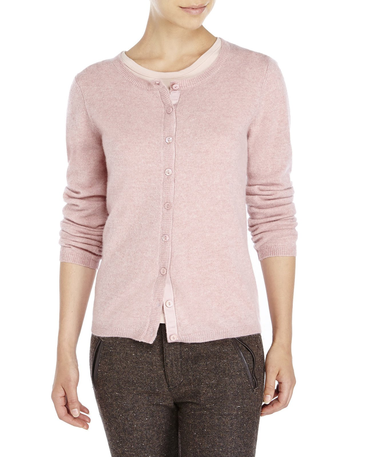 Qi Crew Neck Knit Cashmere Cardigan in Pink | Lyst