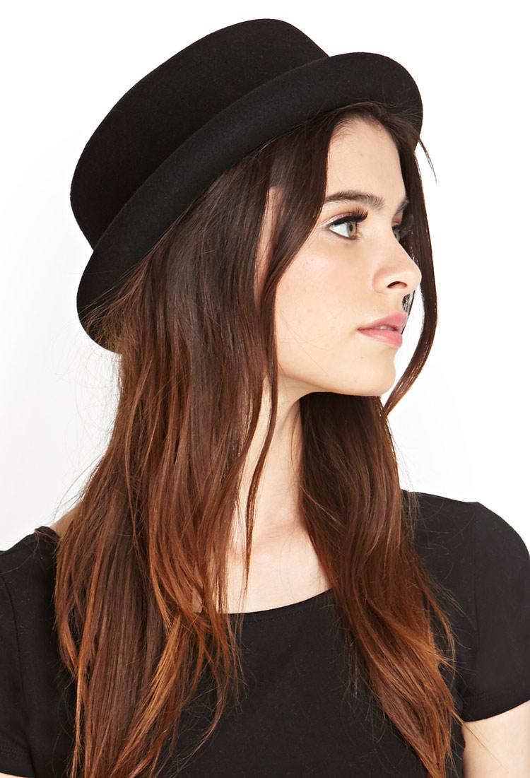 Lyst - Forever 21 Wool Bowler Hat in Black 6af30acf457