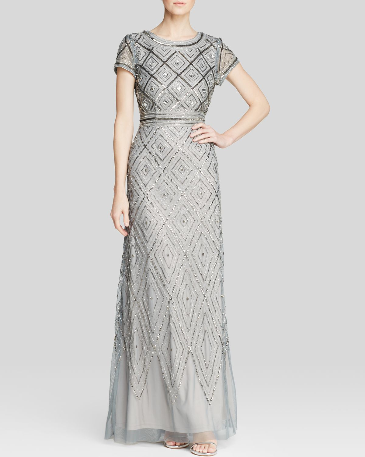 b70d90a2d2e Lyst - Adrianna Papell Gown - Short Sleeve Geometric Beaded in Gray