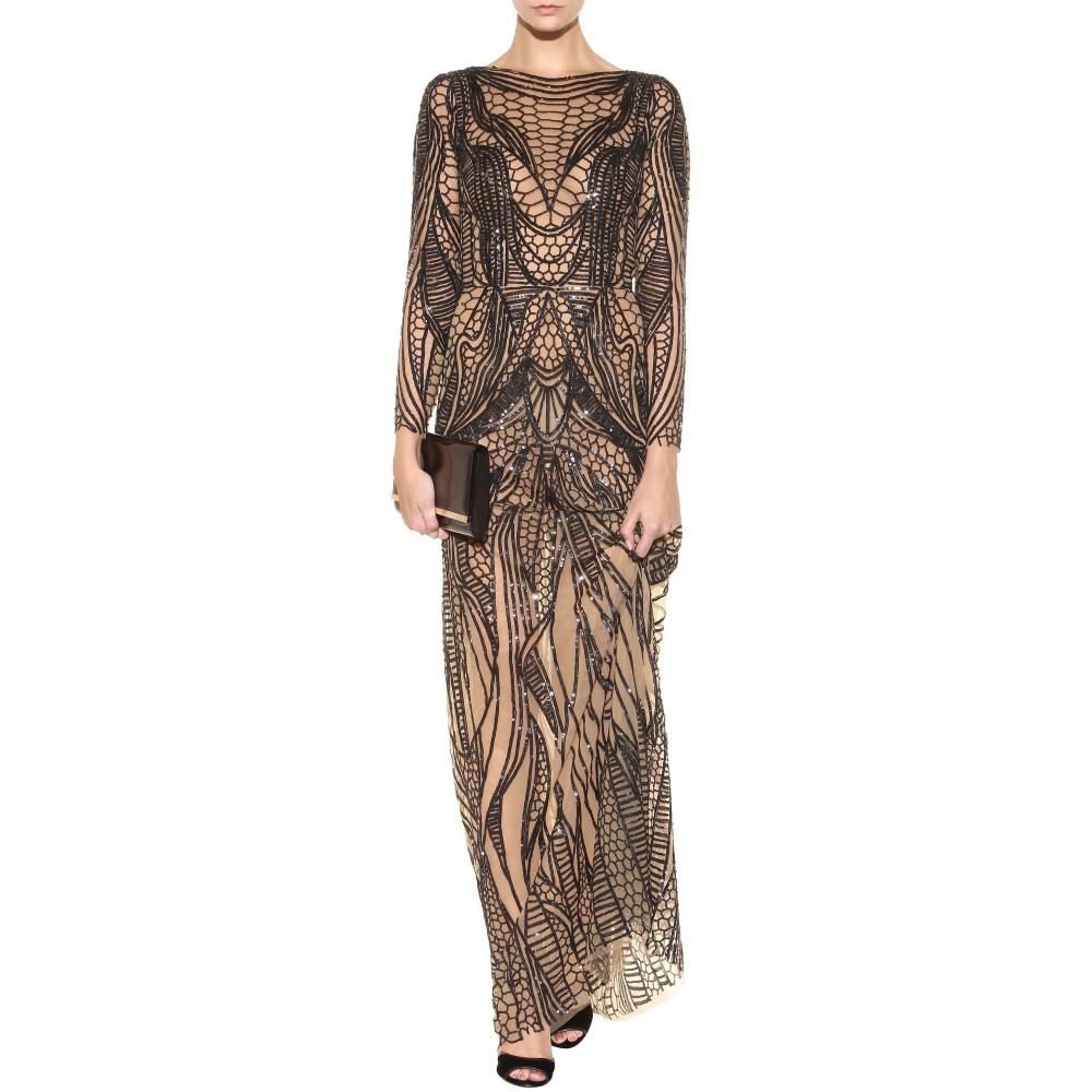7fb20a2ffc41 Zuhair Murad Sequin-Embellished Silk Dress in Black - Lyst