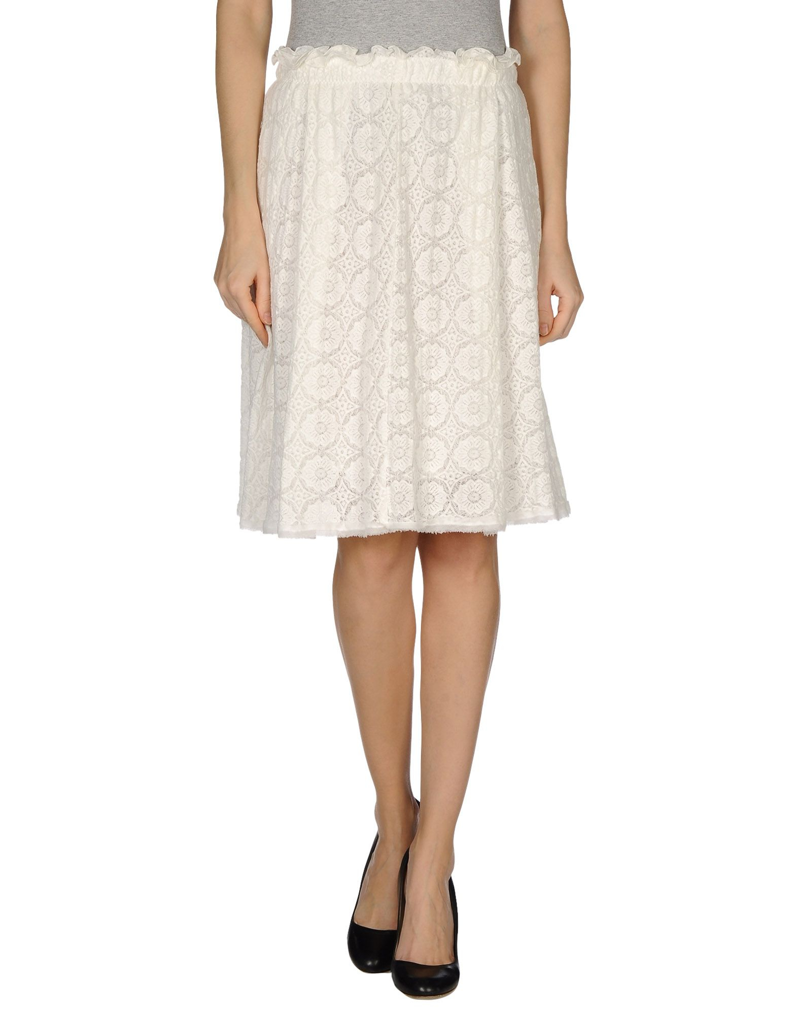 purotatto knee length skirt in white save 78 lyst