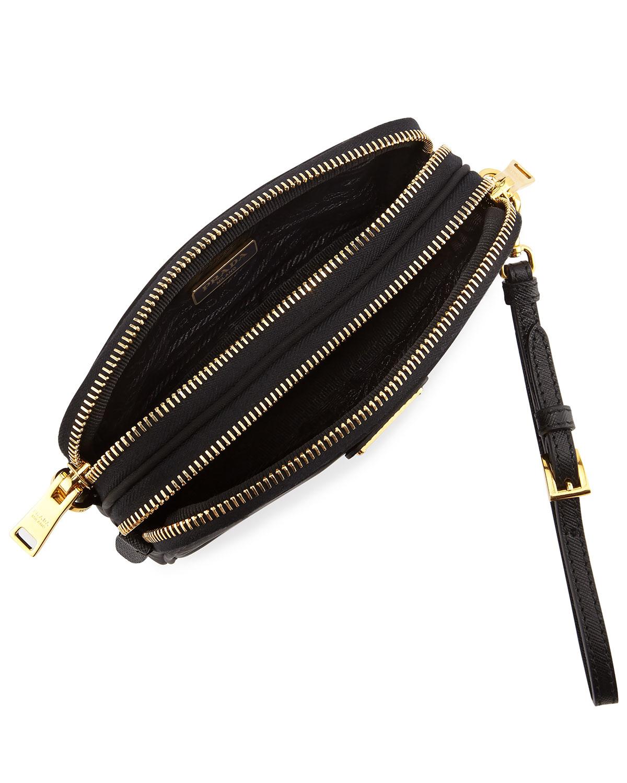 Prada Nylon Double-compartment Crossbody Bag in Black (NERO) | Lyst