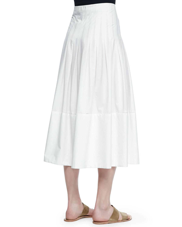 the row vanni drop waist pleated skirt in lyst