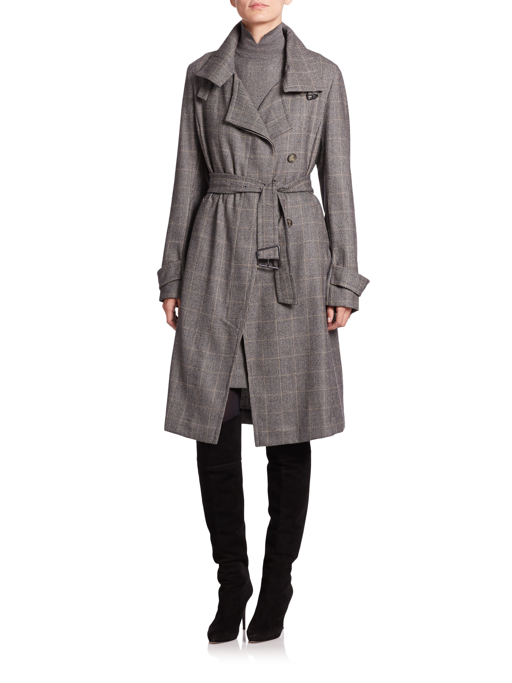 Lyst Akris Again Wool Amp Cashmere Coat In Gray