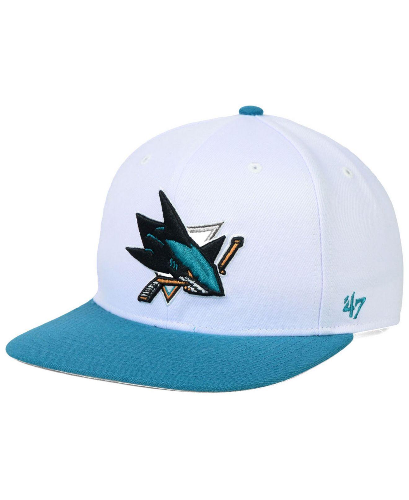 ea4a92a5baf5ef 47 Brand San Jose Sharks Sure Shot 2-tone Snapback Cap in White for Men -  Lyst
