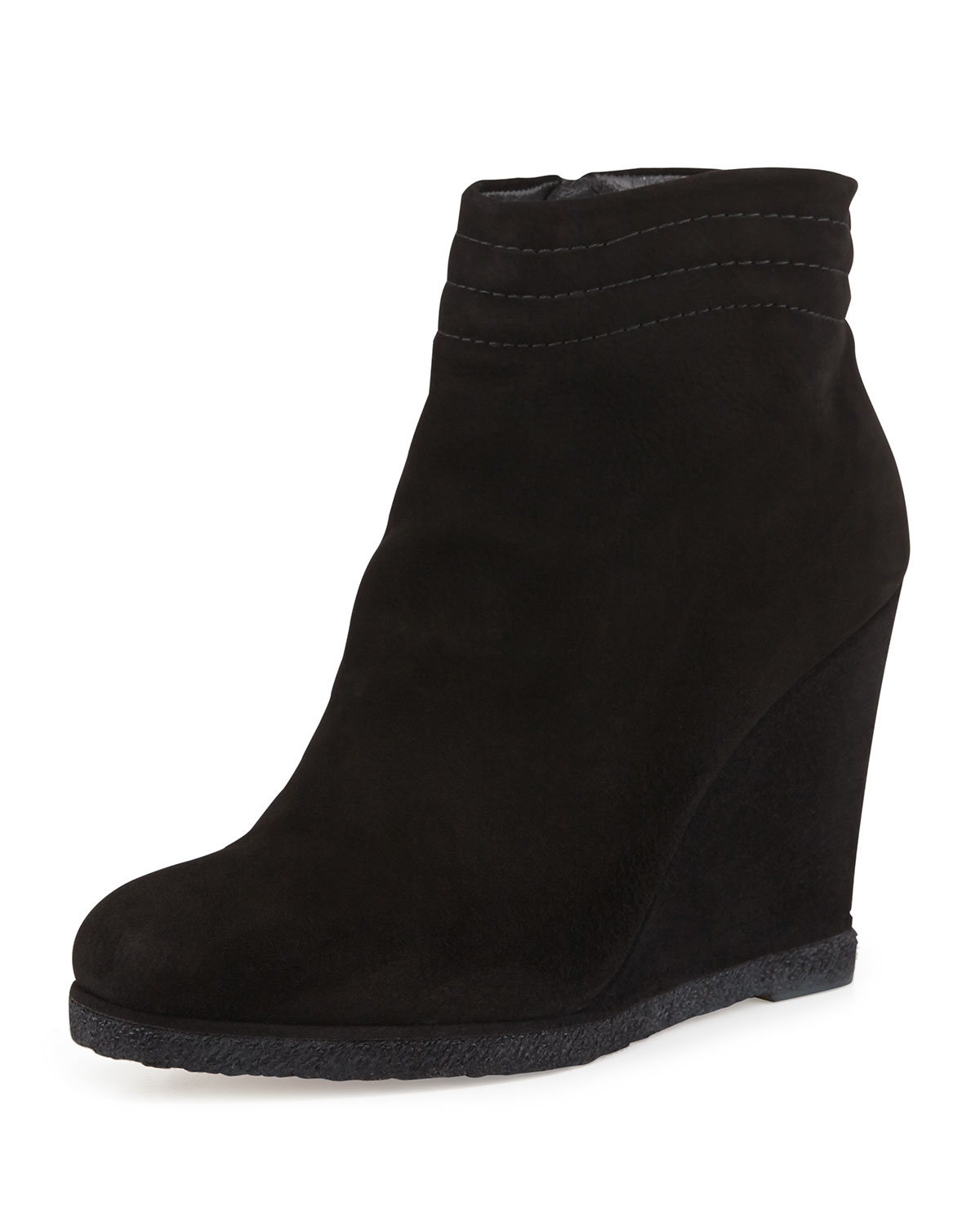 stuart weitzman meridian wedge ankle boot in black lyst