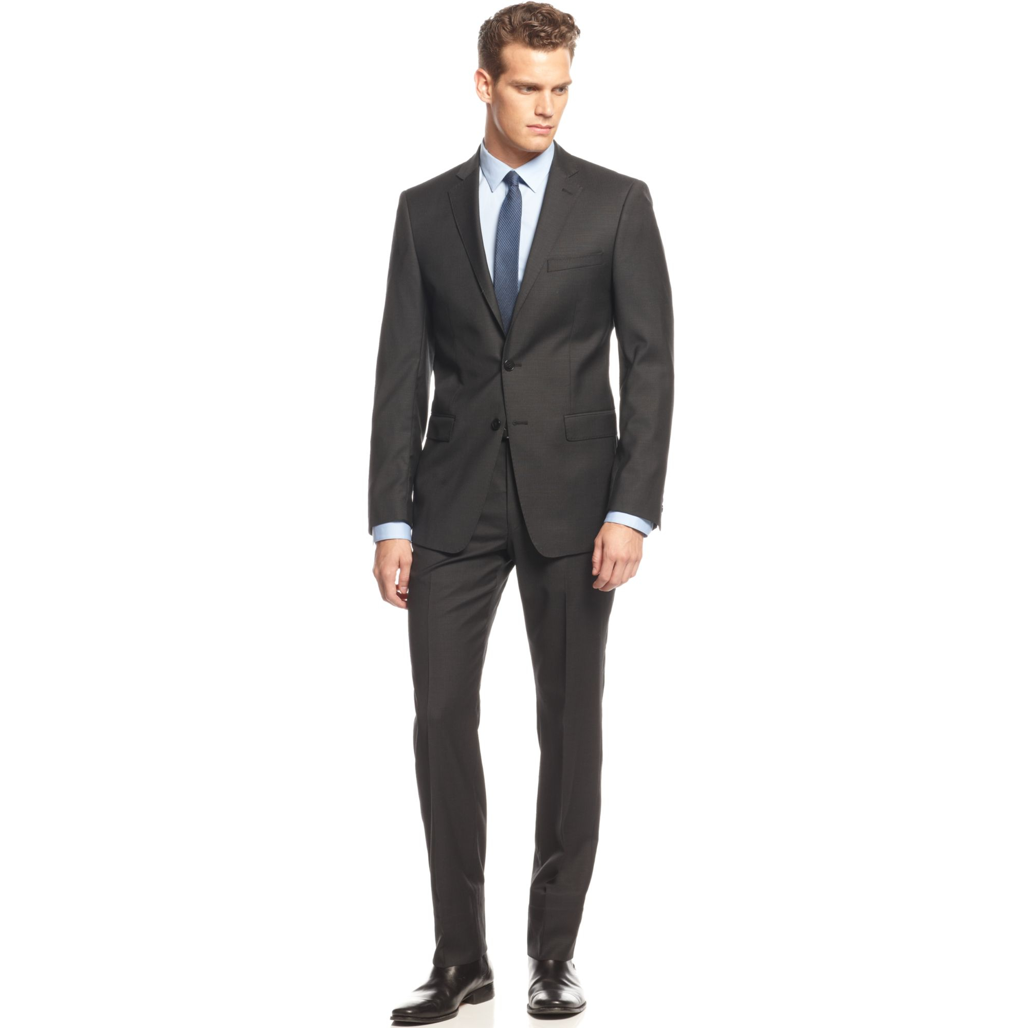 Calvin klein Black Mini-Striped Slim-Fit Suit in Black for ...