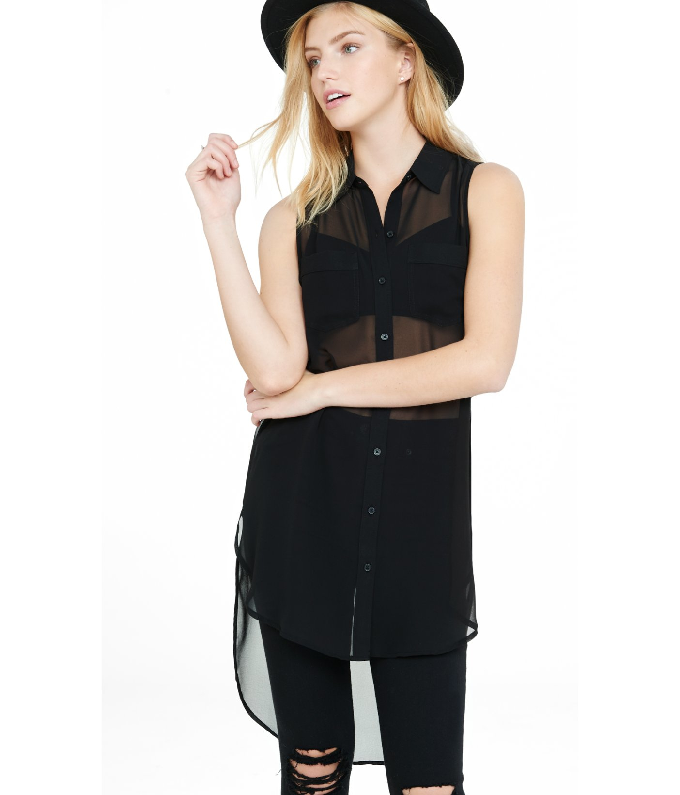 e9262a69a Express Sleeveless Chiffon Button-down Tunic Blouse in Black - Lyst