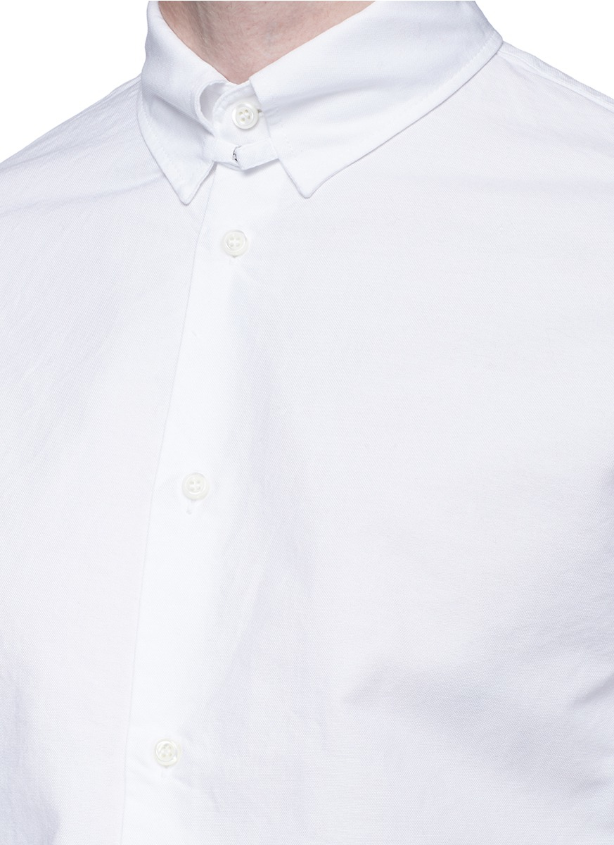 Dsquared snap button tab collar oxford shirt in white for for Snap tab collar shirt