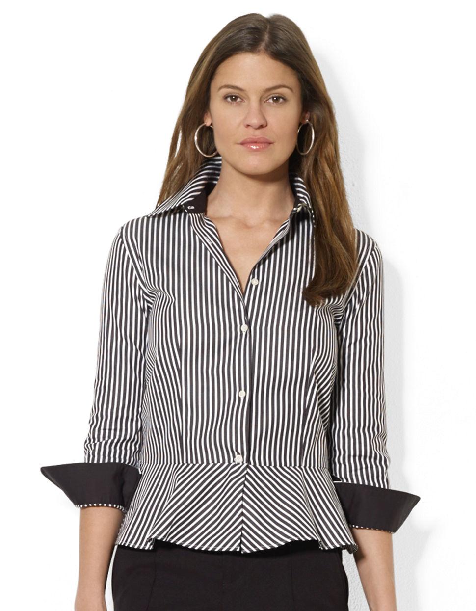 lauren by ralph lauren striped peplum blouse in black white black lyst. Black Bedroom Furniture Sets. Home Design Ideas